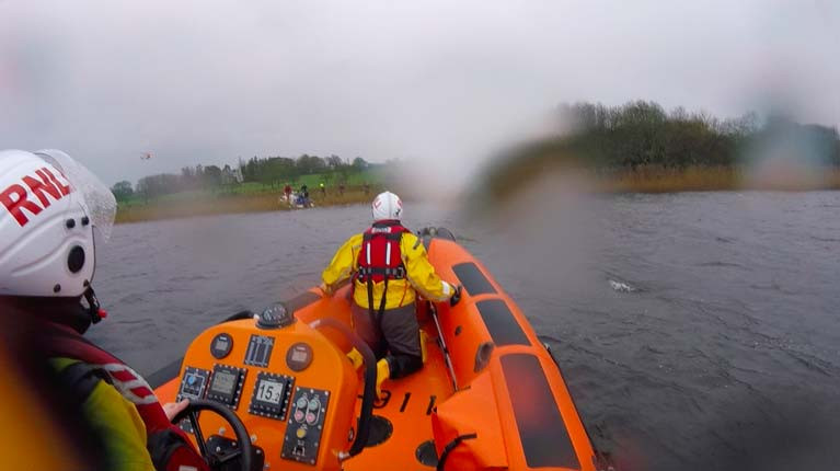 The scene at Portumna during the rescue of three people from a motorboat