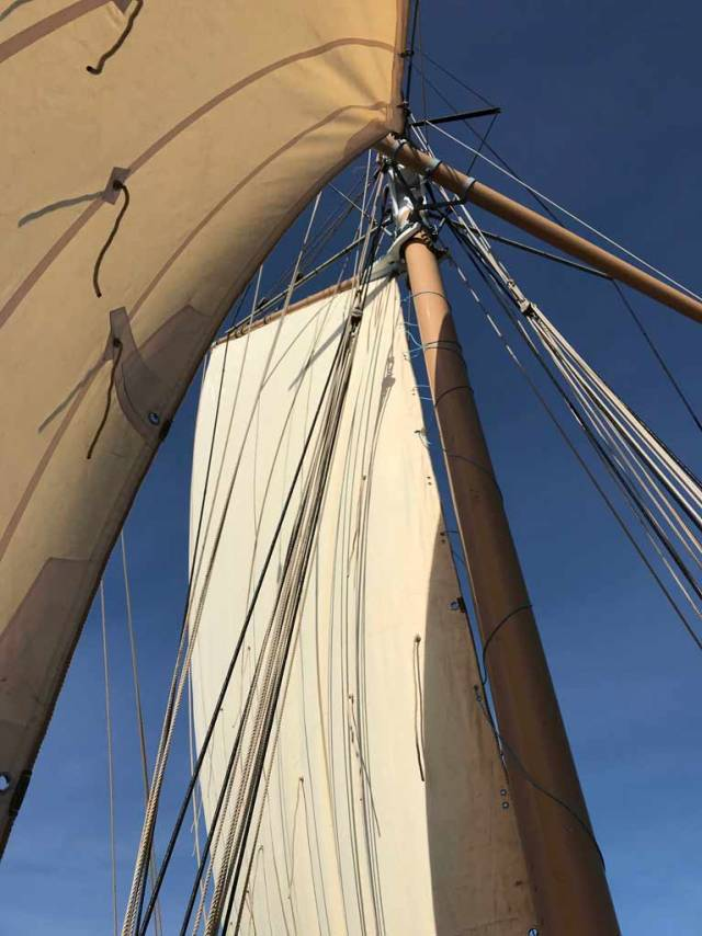 The classic view looking aloft – the restored working ketch Ilen sailed again today, the first time in nearly 20 years