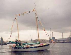 Molly B on the river Liffey, Pete Hogan's self–built 30' gaff rigged ketch which he sailed solo round–the–world