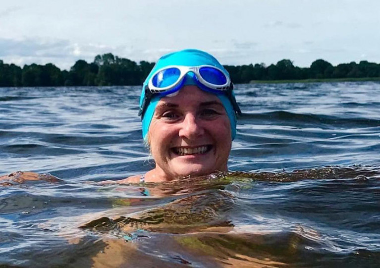 Alison O'Hagan training in Lough Neagh before her eventful swim last Saturday