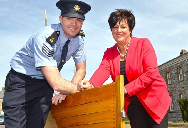 Pictured an at an event in Garda Headquarters, Phoenix Park to announce Irish Ferries sponsorship of the 'Chris Crossing' charity row across the Irish Sea is Irish Ferries' Marie McCarthy with a member of the rowing team, Garda Sgt Ken Hoare
