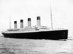 The RMS Titanic departs Southampton on 10 April 1912