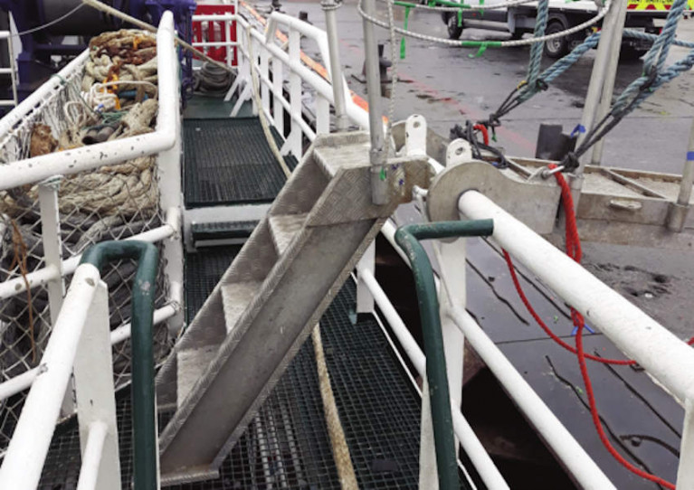 Gangway on MFV Olgarry to shore in Killybegs, which was the subject of a recent MCIB investigation