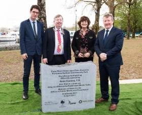 Portumna Harbour – Picture L-R  Paddy Matthews, Failte Ireland  Cathaoirleach Michael Connolly Galway County Council  Dawn Livingstone, Chief Executive, Waterways Ireland  Seán Canney, TD, Minister of State for the Office of Public Works and Flood Relief