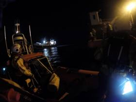 Skerries RNLI bring a 22m fishing vessel into Skerries harbour