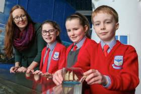 TULCA Education co-ordinator Joanne McGlynn with Èabha, David, and Lauryn from Cregmore NS as they 'rediscover' the Moytirra hydrothermal vents as part of the Build Your Own Unknown art/science project