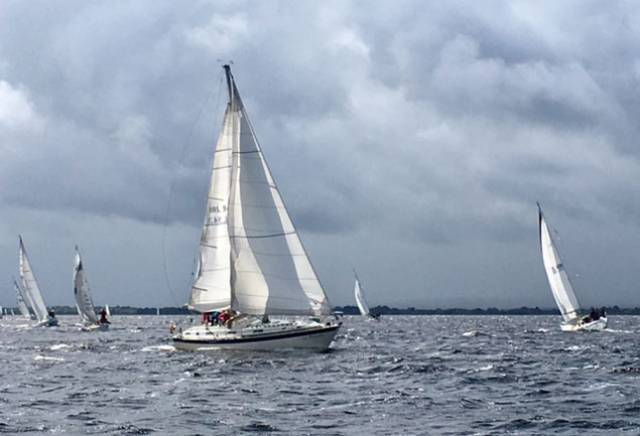 La Bamba approaches Gortmore. The breeze increased to 30–kts at times for this year's Gortmore Bell Race on Lough Derg