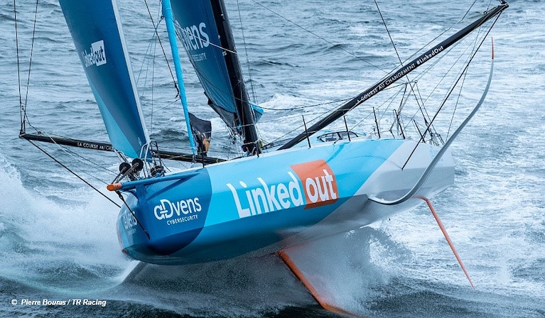 Thomas Ruyant and his team are deciding what to do about the damaged port foil on his LinkedOut