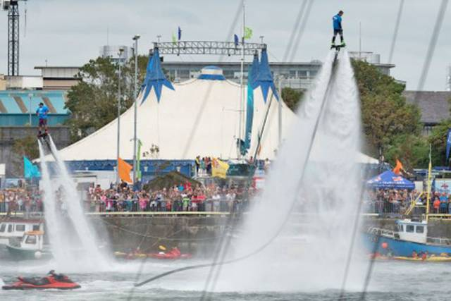 Flyboarders in action at Galway Docks during SeaFest