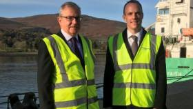 According to BBC Newsline, the media were not invited but the BBC were given this photo of the Brexit Secretary Dominic Raab, meeting some business leaders in the ports of Larne and in Warrenpoint (as above) where AFLOAT adds is the stern of the Irish flagged Arklow Faith. The 2,988grt cargoship was in heavy seas as featured in the recent RTE TV series 'Great Lighthouses of Ireland'.