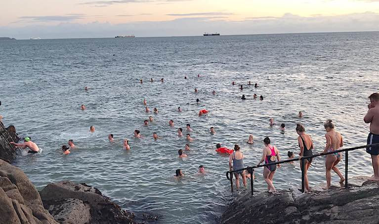 The scene at the popular Dublin Bay bathing spot at the Forty Foot this Wednesday morning at 8am