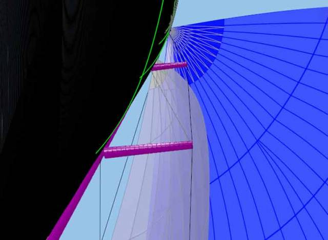 A Stay sail image from the 3D sail design programme, Sailpack