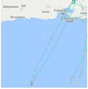 The track of Coastguard Helicopter  R117 to assist a Dublin Bay yachtsman who was washed overboard in 'rough sea conditions'