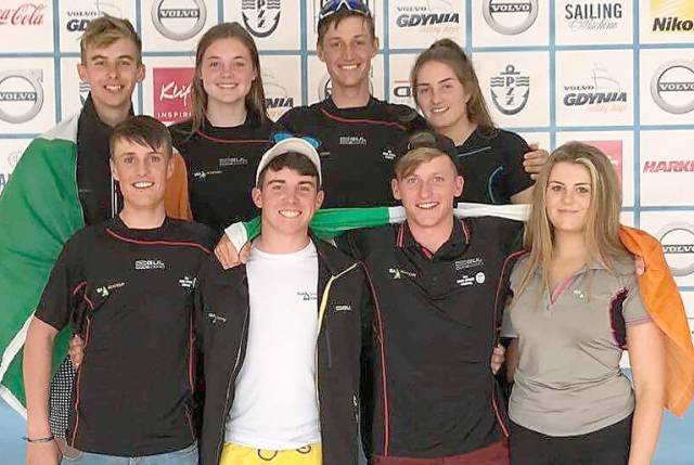 Some of the Ireland youth sailors who competed at the European Youth Laser Championship 2017  (back row from left) Conor Quinn, Tara Coveney, Ewan MacMahon, Nell Staunton (front row from left) Jamie MacMahon, Loghlen Rickard, Johnny Durcan and Sally Bell