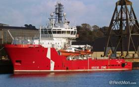 Cork headquartered Mainport Group acquire Ocean Spey (seen at Cork Dockyard) which since has been introduced to serve Kinsale Gas Field platforms replacing the smaller standby support service vessel Pearl