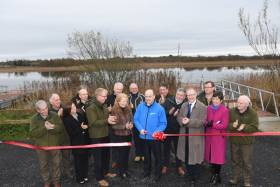 Minister Naughten launches the developments at The Mudflats in Carrick-on-Shannon with IFI chief Dr Ciaran Byrne, local landowners, politicians and IFI team members