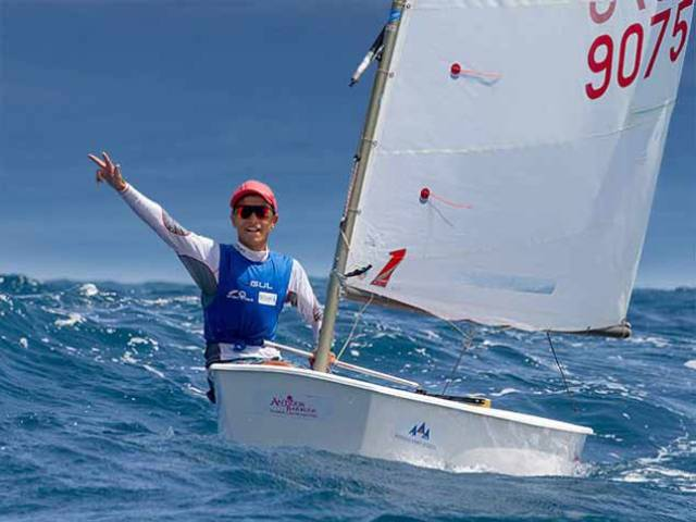 The Rolex Men's Sailor of the Year 2019, 15-year-old Marco Gradoni of Italy, on his way to winning his third Optimist Worlds in a row at Antigua in July