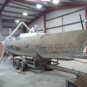 Checkmate XVIII – the old Emiliano Zapata, ex Dick Dastardly, ex French Beret, ex Concorde from 1985 is undergoing a refit in North Wales, launching early May