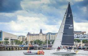 J109 Jedi (skippered by Kenny Rumball) crosses the offshore finish line of Dun Laoghaire Regatta in July. The Sailing School entry is the winner of the Viking Marine Coastal Series