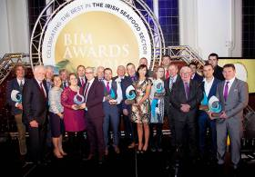 BIM National Seafood Awards 2016  – A group shot of the inaugural winners with Tara McCarthy, BIM CEO & Kieran Calnan, BIM Chairman and Howley family (BIM Lifetime Achievement Award) including Blackshell Mussels, Sofrimar, Oceanpath & Goatsbridge Trout Farm, Island Seafoods, Foyle Warrior Ltd, Barry Shaw (Student of the Year), Stephen Hurley, The Fish Shop, Union Hall (Independent Young Fishmonger of the Year),  Eimantas Zvirblis, Donnybrook Fair, Malahide (Supermarket Seafood Counter), Jim Connolly, Responsible Fisherman of the Year, Dungarvan Shellfish
