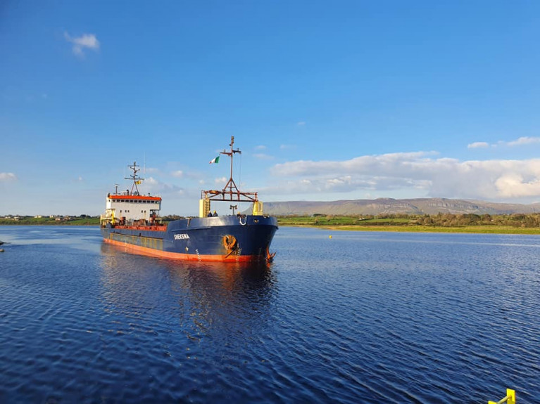 Cameroon flagged cargoship Sheksna which departed Africa with aggregates arrived into the Port of Sligo this week with the scenic backdrop of Benbulbin. Only last month the north-west port saw a new cargo in the form of 'smokeless' coal from the Arigna plant exported to the UK.