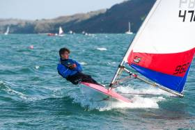 Topper racing in a big breeze during last November's Frostbite League at the Royal Cork