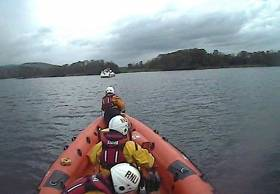 The lifeboat located the vessel at the junction of Scariff Bay on Lough Derg