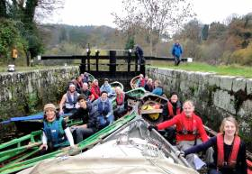 Ready to roll – the Naomhoga Chorcai flotilla assemble in Tinnahinch Lock at Graiguenamanagh