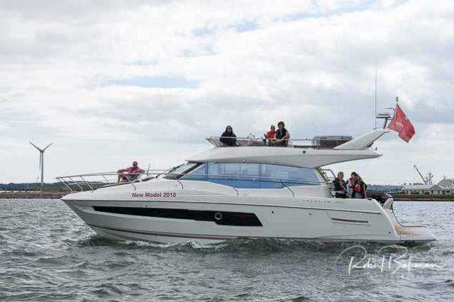 MGM's Prestige 460 Flybridge in Cork Harbour yesterday. The new model has Volvo Penta 'Pod Drives' and 'joystick docking' capabilities.