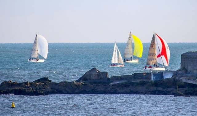 A section of the 74–boat DBSC Turkey Shoot fleet competing in ideal conditions on Scotsman's Bay last Sunday