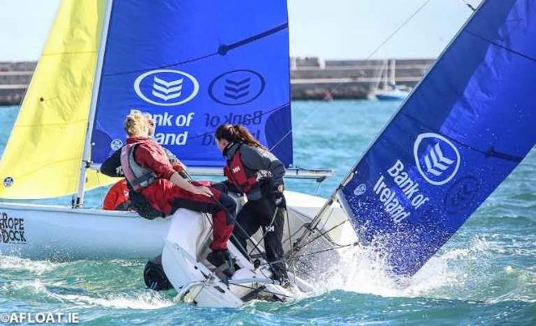 Team racing in Firefly dinghies at Dun Laoghaire Harbour