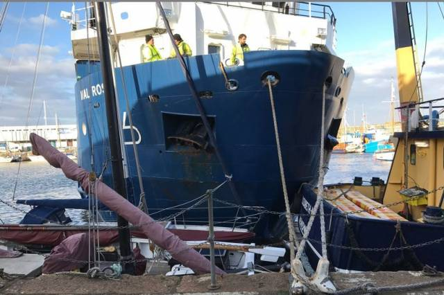 The freightship Mali Rose operated by the Isles of Scilly Steamship is moored after it collided with other boats in Penzance harbour