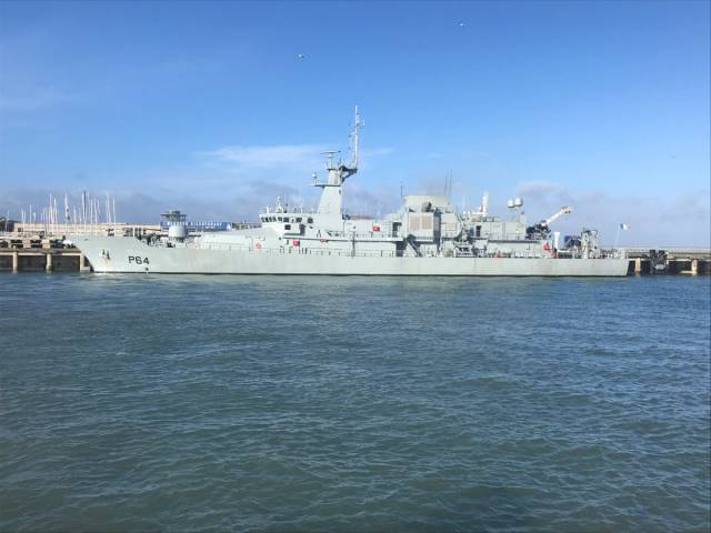 Presenting a sleek profile: LE George Bernard Shaw (P64) with a crew of 44 personnel, made a first visit to Dun Laoghaire Harbour last weekend when alongside Carlisle Pier.