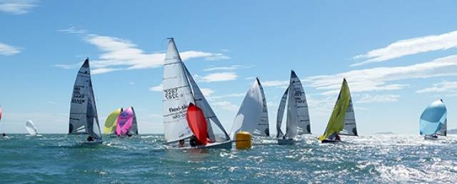 SB20s round a leeward mark on breezy day two of the national championships at Dun Laoghaire