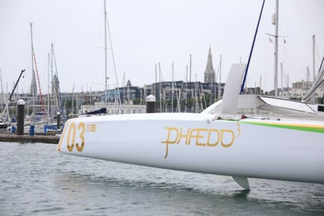 US sailor, Lloyd Thornburg, brought his MOD 70 Phaedo 3 into Dun Laoghaire Harbour this morning