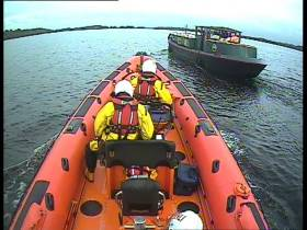 The lifeboat arrived with the casualty vessel and once on board assessed the vessel for water ingress and none was found.