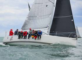 The nine-man Joker II crew on their way to a fourth consecutive ICRA Class One victory on Dublin Bay