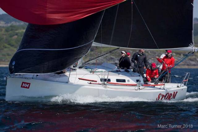 "In IRC 2, the Kelly family's heavily IRC-optimised J109 ""Storm II"" from Rush SC won her class with a four-point margin"