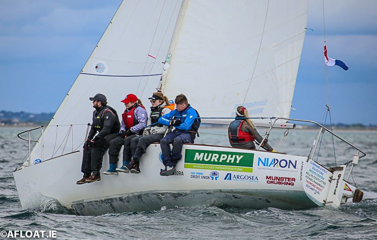 A J24 crew racing on Dublin Bay
