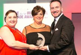Irish Ferries Marie McCarthy (centre) and Dermot Merrigan pictured receiving the 'Best Ferry Company 2017' award from Blaithin O'Donnell of Air Canada at the 26th Irish Travel Trade Awards ceremony held in Dublin recently