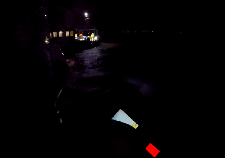 Skerries RNLI approaching the razor fishing vessel in the dark