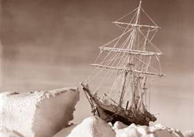 The Endurance trapped in pack ice during the Shackleton-led Imperial Trans-Antarctic Expedition