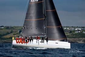 "XP44 ""WOW"" sailing upwind off Kinsale with her UK Sailmakers Uni-Titanium Mainsail and J2 Jib. Photo: Robert Bateman"