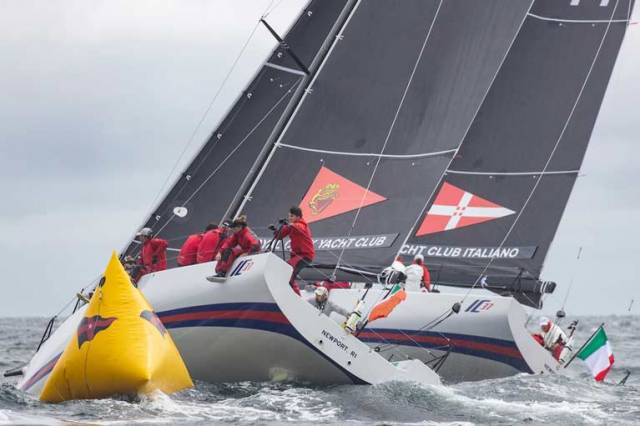 Royal Cork get the inside berth for Ireland at a leeward mark rounding in an action packed day three of the New York Invitational Cup
