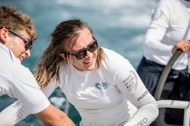 Annalise Murphy training on board Volvo Ocean Race entry Turn the Tide on Plastic