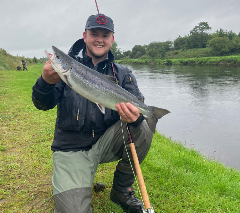 David Morris with a cracking 7lbs July salmon on the Fly from Mount Falcon River Moy