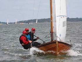 Darragh McCormack, his brother Mark and Johnny Dillon on their way to winning the Mermaid Nationals at their home port of Foynes