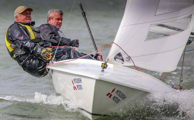 Flying Fifteen champions David Gorman and Chris Doorly of the National Yacht Club have had to pull out of the Whitehead Championships after a mast break in a windy DBSC race last weekend