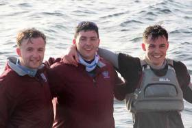 "The three winning Dublin University helms at Clifden were (left to right) Dan Gill, Scott Flanigan and Richard d""Esterre Roberts"