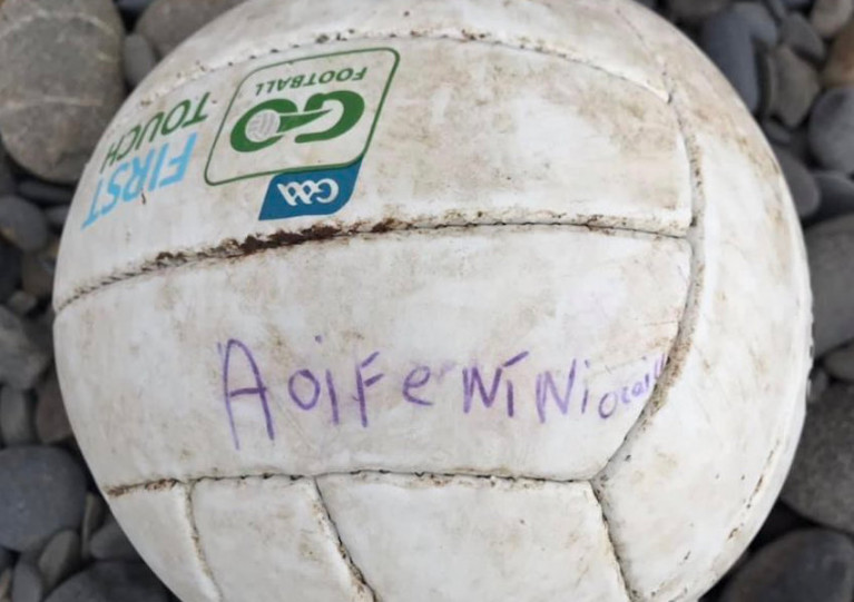 Aoife Ní Niocaill's GAA football was found on the shore of Llanrhystud in Wales